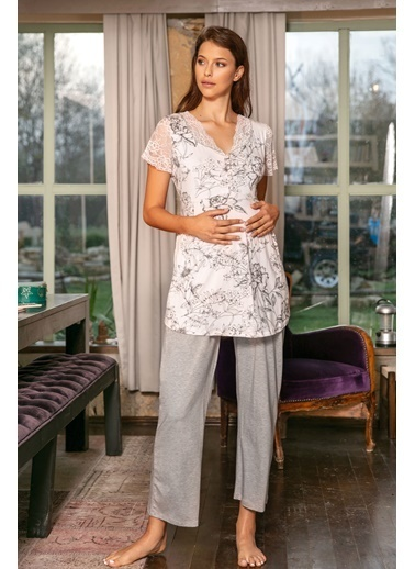 Anıl Hamile Lohusa Viskon Pijama Sabahlık 3'lü Takım Gri